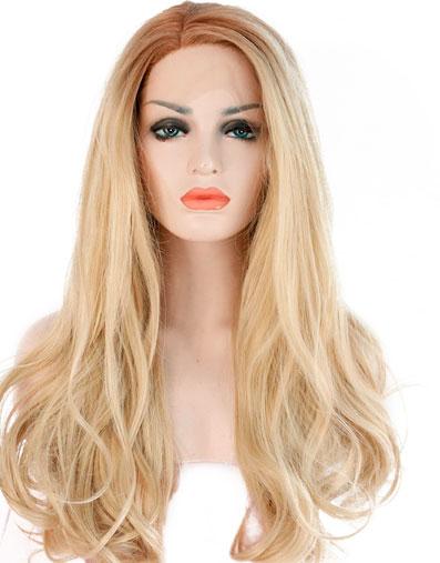 peluca ondulada indetectable larga rubia. Una peluca muy elegante, peluca lace front, de encaje frontal, queda muy bonita esta peluca es un modelo muy solicitado, tiene un cabello sedoso, rizado y es muy cómoda de llevar