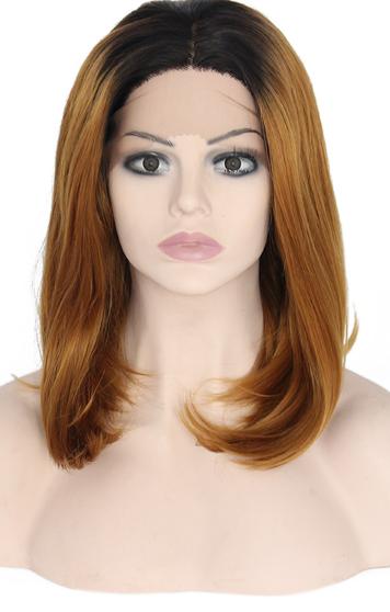 peluca marron claro con raices oscuras media melena lisa. Indetectable ajustable. Una peluca muy demandada, elegante sexy y que siempre queda bien