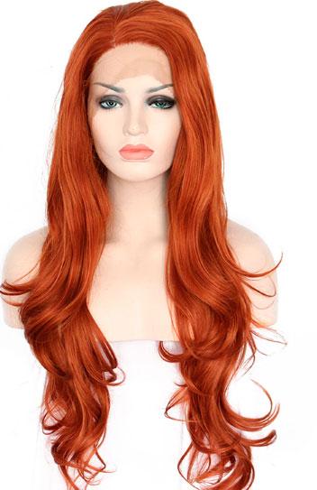 peluca pelirroja cabello largo ondulado indetectable ajustable. Una peluca muy demandada, elegante sexy y que siempre queda bien, peluca ajustable