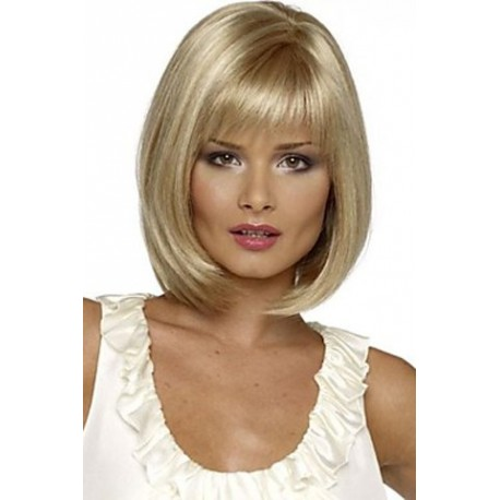 bonita peluca rubio claro, sintetica de alta calidad fibra kenakalon, peluca con raya y flequillo recto, cabello sedoso como tu pelo, ajustable gracias a cintas elásticas que impiden que se mueva la peluca, resistente al calor. Cambia de look en segundos con esta increible y hermosa peluca
