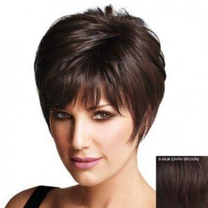 elegante peluca corta de pelo humano, color castaño oscuro, sin tapa, con flequillo, peluca cabello humano