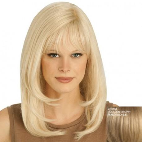 peluca natural rubia pelo largo ondulada