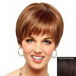 Peluca corta cabello humano cobrizo sin tapa. Peluca con encanto muy bonita para mujeres exigentes. Disponible en colores, rubio claro, rubio oscuro castaño claro, castaño oscuro, morena y rubio platino