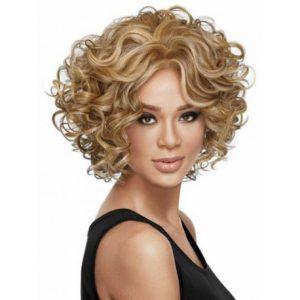 peluca corta rizado color rubia, de pelo natural como tu propio pelo. peluca a mechas en 2 tonos de color, peluca ajustable a cualquier tamaño, resistente al calor