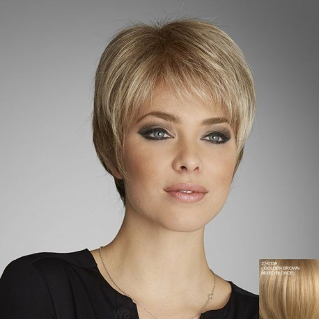Peluca corta rubia de cabello humano, disponible en negro, castaño claro, castaño oscuro, rubio claro, rubio oscuro, cobrizo.peluca ajustable a cualquier tamaño