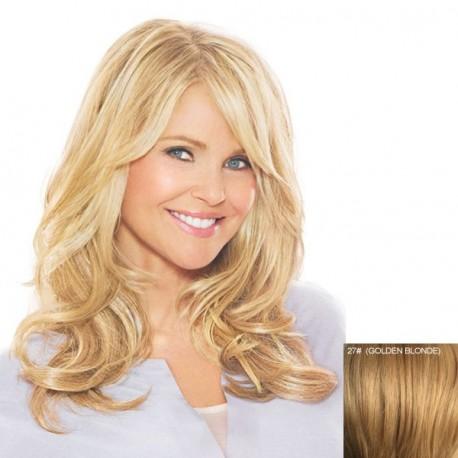 peluca larga ondulada de cabello humano. pelo humano, peluca atractiva sin tapa, rizada con flequillo, pelo sedoso, largo por el hombro, cómoda de llevar, peluca ajustable a cualquier tamaño