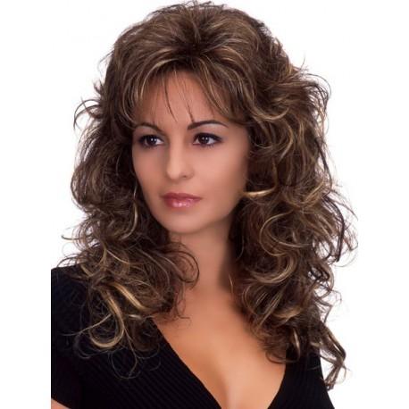 peluca larga rizada con flequillo, de fibra kenakalon, castaño oscuro con flequillo, peluca rizada, ondulada a prueba de calor
