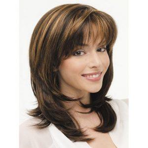 peluca marron a mechas con flequillo peluca con encanto muy natural media melena, peluca media melena con flequillo, ondulada, peluca de tacto sedoso como tu pelo