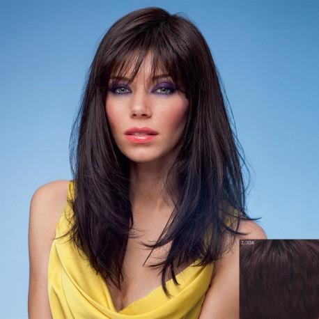 peluca morena a capas de cabello natural, larga con flequillo recto