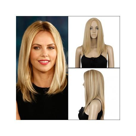 Peluca natural de pelo rubio sintético de fibra kenakalon, cabello de excelente calidad liso, con raya en medio sin flequillo, peluca de tacto sedoso, muy natural, peluca ajustable a cualquier tamaño, gracias a unas cintas elásticas que impiden que la peluca se mueva