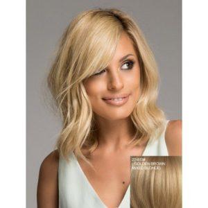 peluca rubia cabello humano, media melena ondulada, raya al lado, parece autenticamente tu pelo.Disponible en colores, rubio claro, rubio oscuro castaño claro, castaño oscuro, morena