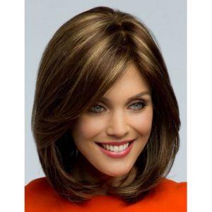 peluca media melena, peluca sintética con el peinado lateral, pelo liso color castaño con mechas, peluca sin tapa, ajustable a cualquier tamaño por cintas elásticas que impiden que se mueva