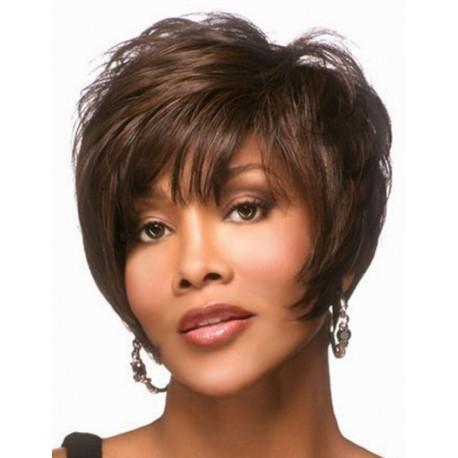 peluca corta marron oscuro sintética de fibra kenakalon, pelo corto castaño oscuro, peluca sin tapa con flequillo, peluca ajustable mediante cintas elásticas que impiden que se mueva
