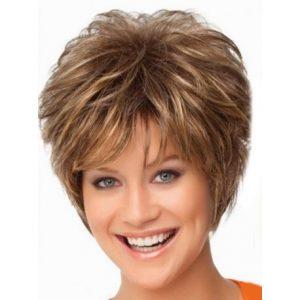 peluca fibra kenakalon, peluca sintetica rubia oscura, color mixto, con mechas, peluca de fibra rubia corta sin tapa, ajustable a cualquier tamaño, resistente al calor