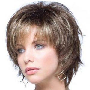 peluca rubio oscuro mixta con flequillo, peluca corta de fibra resistente al calor. Ajustable a cualquier tamaño