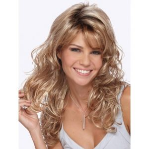 preciosa peluca ondulada rubio calro, peluca sintetica, peluca de fibra sintetica sin tapa