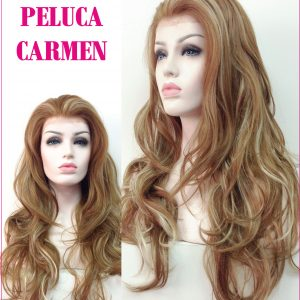 peluca lace front, es Carmen una peluca conocida como indetectable o de cordon. un tul transparente con tono de color carne igual que el cuero cabelludo.
