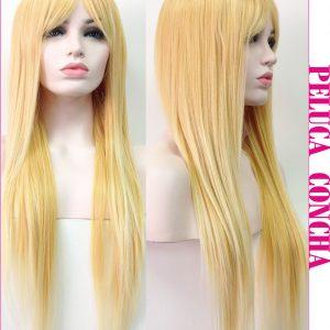 Peluca larga lisa rubia con flequillo. Una peluca muy vendida, todo un clásico en estos últimos tiempos y que siempre queda bien , peluca modelo Concha color rubio, es una peluca con bastante cabello por lo que lucirás una melena envidiable.