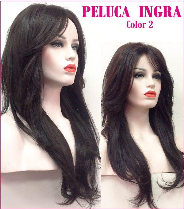 peluca indetectable natural de colageno. Modelo Ingra es una peluca muy elegante, es voluminosa ya que tiene crepé interior. Peluca lace front cosida a mano.