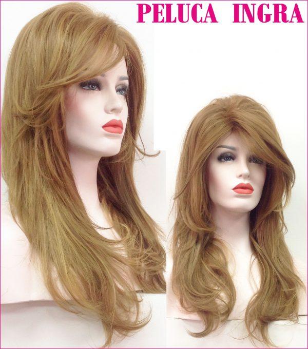 peluca larga marrón claro. Modelo Ingra es una peluca muy elegante , es voluminosa gracias a su crepé interior. Peluca color castaño claro de colágeno