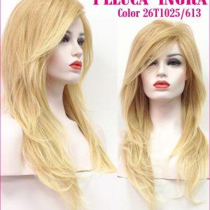 peluca larga rubia de colágeno. Modelo Ingra es una peluca muy elegante , es voluminosa gracias a su crepé interior.