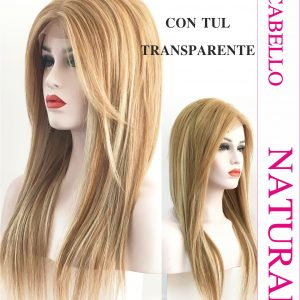 Peluca de cabello humano color castaño claro. modelo Sibila es un modelo de cabello 100% natural, esta peluca tiene un peso de 300 gramos y una medida de 50/55 cm de largo