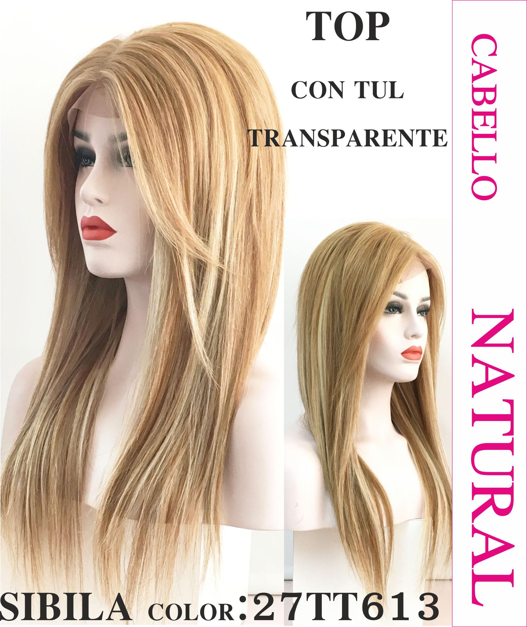 Peluca de cabello humano color castaño claro. modelo Sibila es un modelo de  cabello 100 8276ed68b387