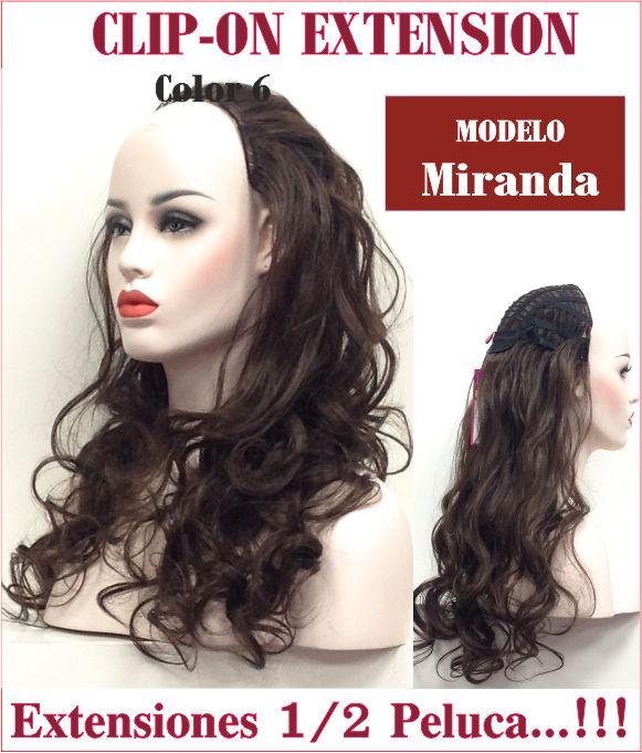 Media peluca es una extensión de melena ondulada, una pieza con clips para sujeccion con 60 cm de largo, sujeccion con clips. Miranda y Miranda-B se diferencian tan solo que es algo más pronunciado el rizo la ondulacion y es algo mas escalado