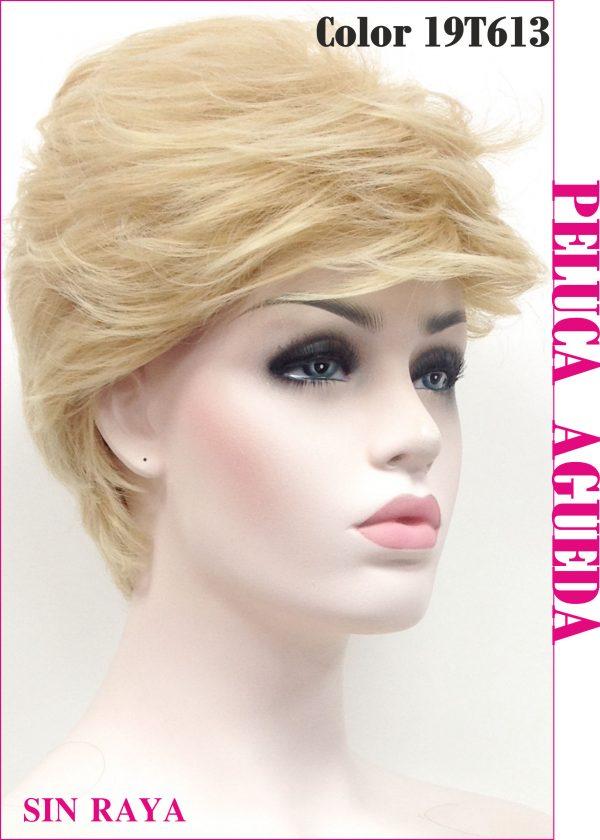 Peluca corta de gran estilo y elegancia modelo Agueda. Un modelo corto y liso con un peinado lateral,muy sencillo, degradado que se peina fácilmente