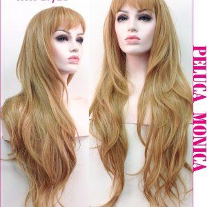 pelucas Monique en liquidación, larga 65 cm, de corte a capas con flequillo, ligeramente ondulada. Una peluca muy elegante, queda muy bonita esta peluca