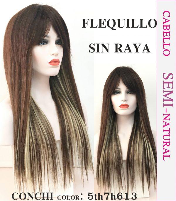 Peluca natural larga lisa. Aquí tenemos otro de nuestros modelos seminaturales llamada conchita , esta peluca esta cosida a maquina todo el largo de la peluca y el top (parte superior) es 100% cabello natural y hecho a mano,quiere decir que el pelo esta pinchado uno a uno.