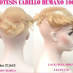 Protesis capilar para mujer-hombre. Este modelo versátil y universal cabello procesado 100% cabello humano con 2 lineas gruesas por detrás