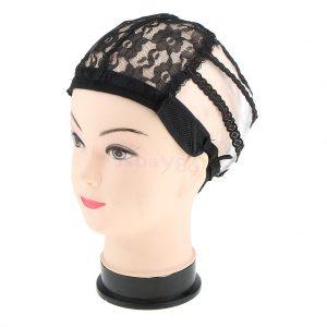 casquillo elástico correa ajustable pelucas. Tejido elástico, redecilla de malla para fabricar pelucas de pelo largo, frente del cordon, lleva incorporadas cintas elásticas ajustables para mayor sujeción