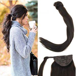 Coletero de pelo humano, cola de caballo en tonos castaño oscuro, pelo 100% cabello humano. Coletero con lazo cabello sedoso con movimiento como tu propio cabello, Puedes hacer muchos estilos de peinado con este coletero.
