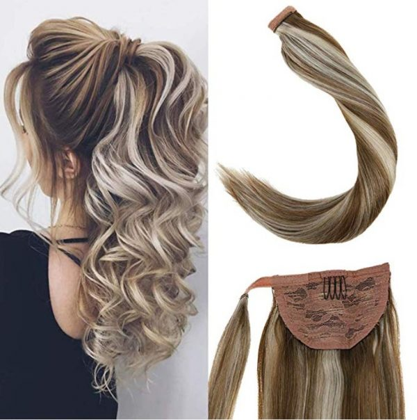 extension pelo humano cola de caballo.. cola de caballo extension de pelo humano en mechas rubias y marrones, cabello 100% pelo humano, Coleteros de cabello natural.