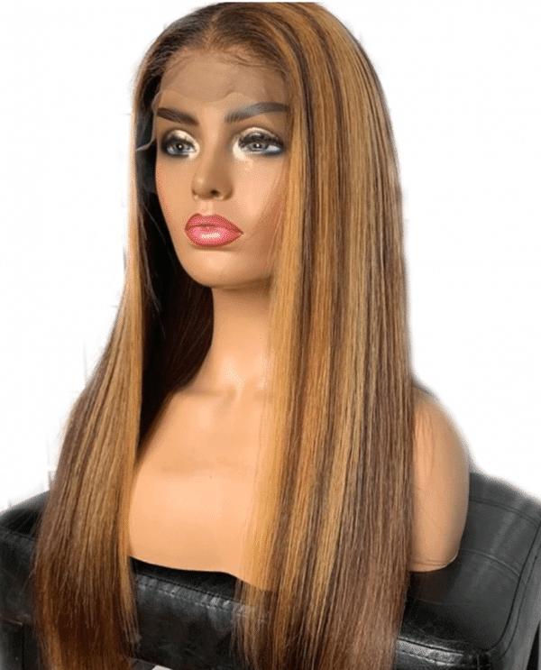 Peluca de cabello humano Peluca de cabello humano 100% calidad superior sin procesar. Peluca natural rubio a mechas estilo largo liso corte moderno, peinado elegante, fabricada completamente a mano, creando una impresionante ilusión del cabello que crece en el cuero cabelludo, cabello sedoso cuya densidad es del 130%.