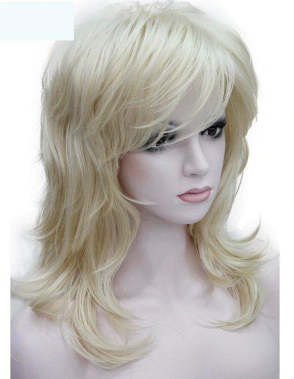 peluca rubio platino con flequillo, peluca a capas, con resistencia al calor hasta 130º peluca color rubio claro, media melena con flequillo