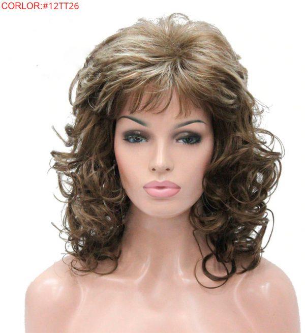 peluca marron claro rizada, este modelo de peluca está rizada en las puntas, tiene un peinado con flequillo muy sexy y natural, peluca que resiste el calor hasta 130º es de color castaño claro, pero puedes elegir en otros colores