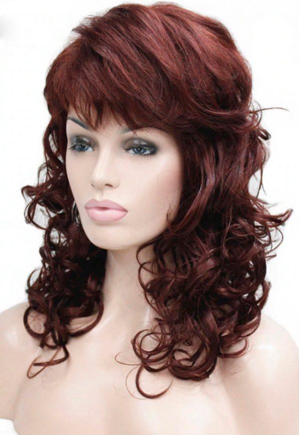 peluca pelirroja caoba rizada, peluca rizada en las puntas, con un peinado con flequillo lateral, peluca que resiste el calor hasta 130º es de color borgoña, pelirrojo o caoba, preciosa media melena y volumen, peluca de fibra de colágeno