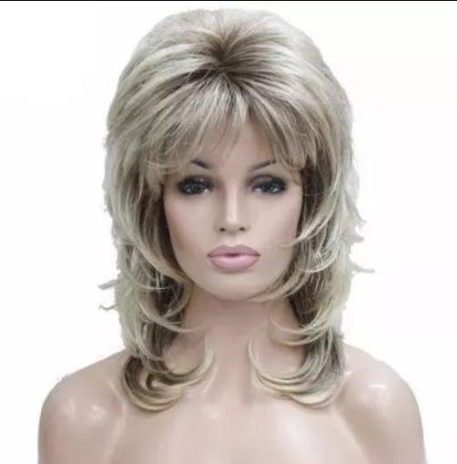peluca a capas rubia. peluca de fibra de colágeno, resistente al calor, de tacto suave como tu cabello, con volumen, y estilo muy elegante de peinado informal y moderno