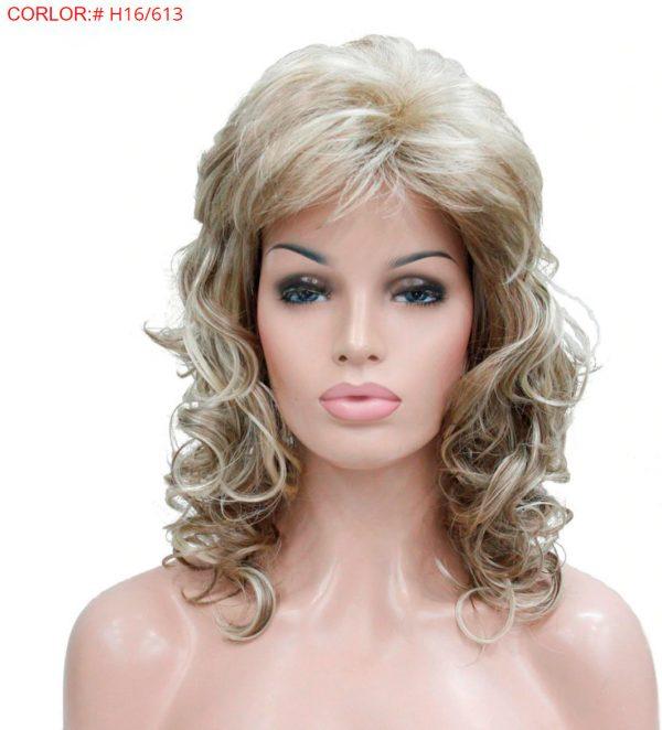 peluca rubia rizada flequillo, peluca rizada en las puntas, con un peinado con flequillo lateral, peluca que resiste el calor hasta 130º es de color rubio natural rizado