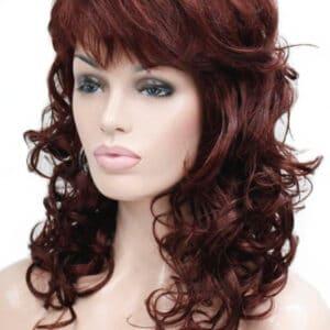 peluca pelirroja caoba rizada, peluca rizada en las puntas, con un peinado con flequillo lateral