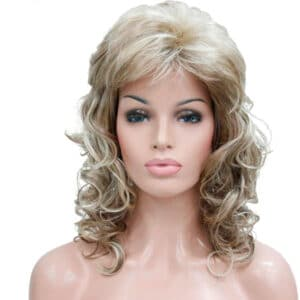 peluca rubia rizada flequillo