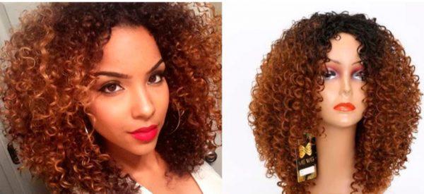 Peluca rizada caoba estilo afro. Peluca de fibra resistente al calor, cabello muy suave con movimiento semejante al cabello humano. Modelo Ms9075. Peluca apropiada para tratamientos de quimioterapia, alopecia, perdida de pelo, y oncologia.