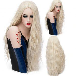 pelucas largas en colores fantasía. Esta peluca su fibra es de alta calidad y resistente al calor hasta máximo 130 grados. Peluca larga, sedosa, ondulada, cómoda de llevar, Lleva unas cintas elásticas para que se ajusten a tu tamaño de cabeza para que no se mueva