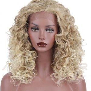 Indetectable peluca lace front rubia. Peluca hecha de fibra de alta calidad resistente al calor hasta 130 grados. Una peluca que te dará confianza y seguridad ya que se ve muy real de pelo sedoso y con movimiento igual que tu propio cabello