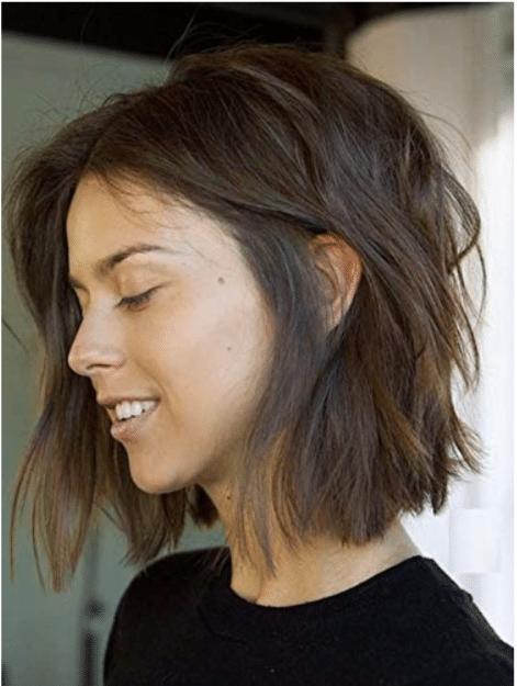 Peluca despuntada corte a capas pelo humano media melena