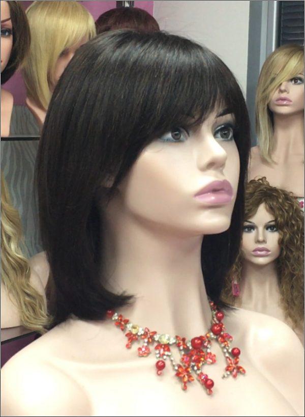 peluca morena natural modelo martina , color, coronilla de tul color negro