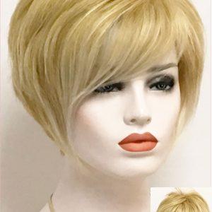 Preciosa peluca corta de cabello humano