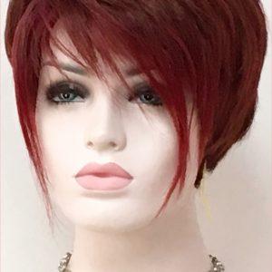 peluca natural de cabello humano color caoba